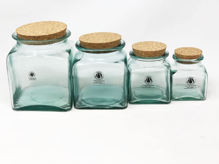 Verano Recycled Glass - Set Of 4 Storage Jars With Cork Lids