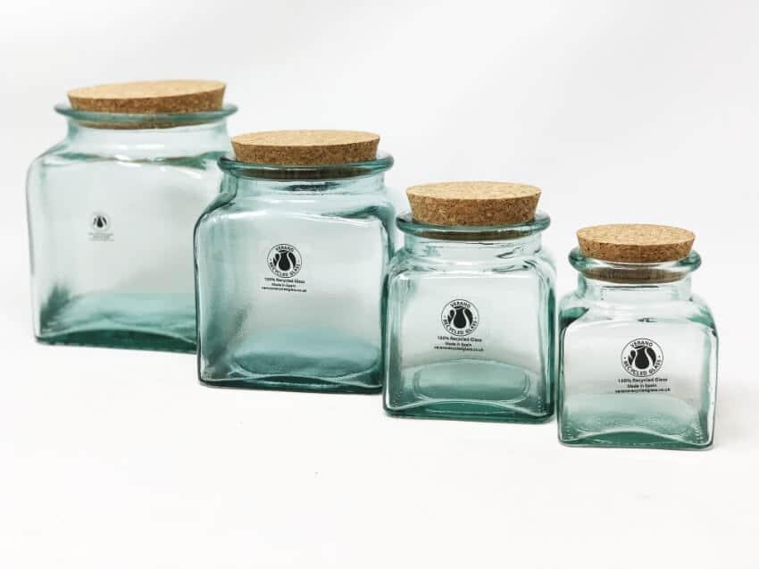 Verano-Spanish-Ceramics-Recycled-Glass-Set-of-4-Storage-Jars-with-Cork-Lids-2