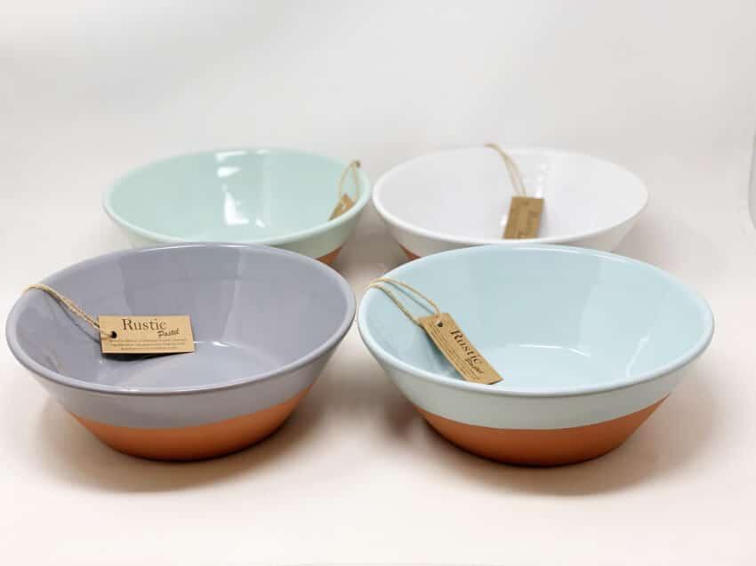 Rustic Pastel - Large Bowl (Half Dipped)