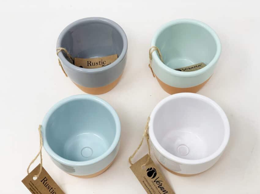 Verano Spanish Ceramics Rustic Pastel 9Cm Herb Pots 1 1