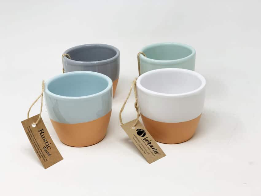 Verano Spanish Ceramics Rustic Pastel 9Cm Herb Pots 4 1