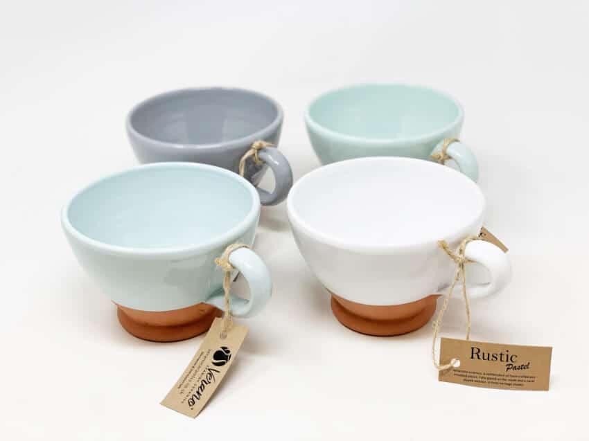 Rustic Pastel - Sets Of 2 Breakfast Cups (Half Dipped)