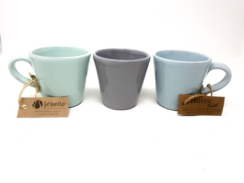 Rustic Pastel - Sets Of 2 Conical Mugs  (Fully Dipped)