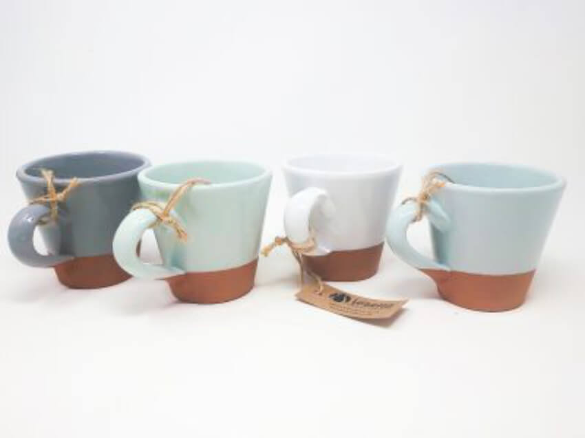 Rustic Pastel - Sets Of 2 Conical Cups (Half Dipped)