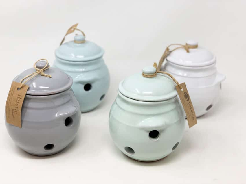 Rustic Pastel - Garlic Storage Jar With Lid (Fully Dipped)