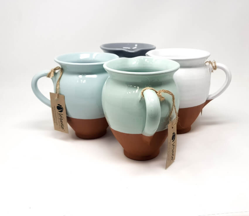 Verano-Spanish-Ceramics-Rustic-Pastel-Small-Belly-Jug-Half-Dipped-9