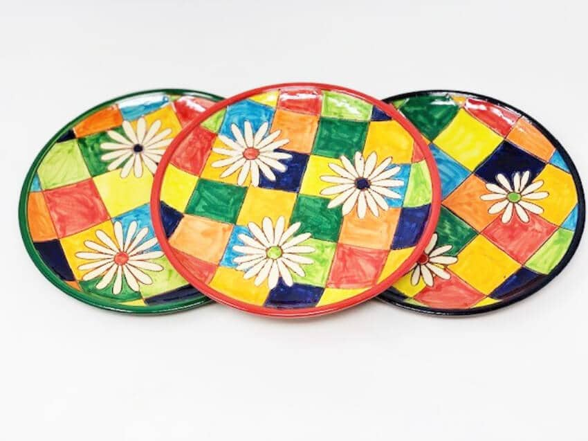 Signature - Flowers On Squares - Set Of 3 Small Serving Plates