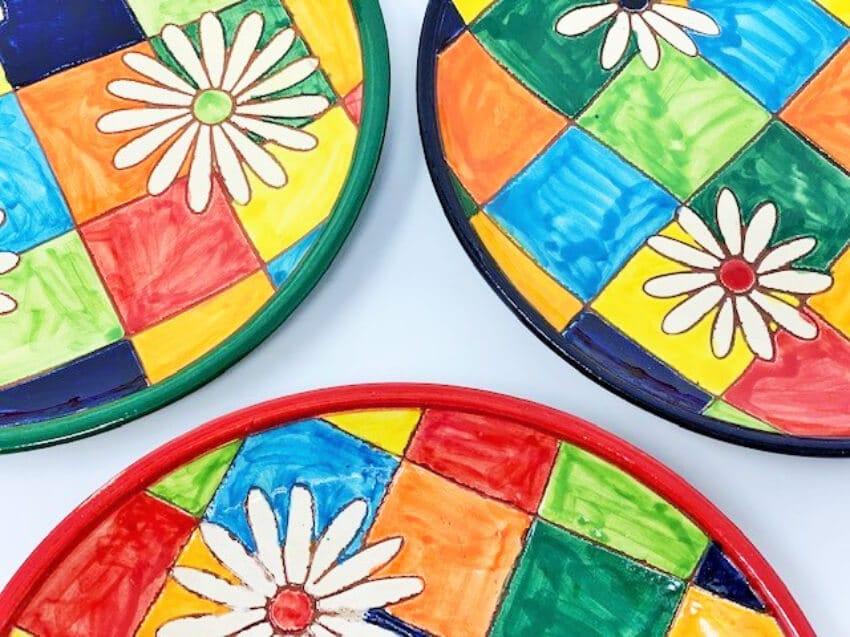 Verano-Spanish-Ceramics-Signature-Flowers-On-Squares-Set-of-3-Small-Plates-2