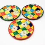 Verano-Spanish-Ceramics-Signature-Flowers-On-Squares-Set-of-3-Small-Plates-3