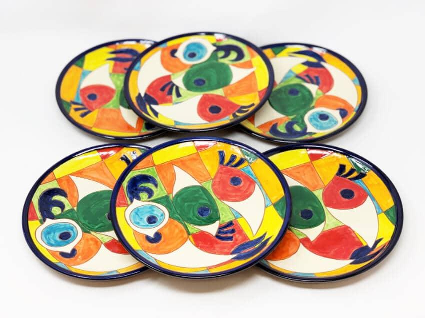 Verano-Spanish-Ceramics-Signature-Moderno-Pez-set-of-6-Plates-3