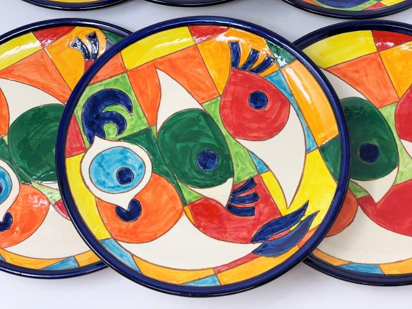 Verano-Spanish-Ceramics-Signature-Moderno-Pez-set-of-6-Plates-4