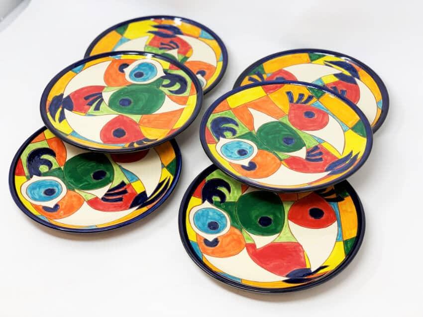Verano-Spanish-Ceramics-Signature-Moderno-Pez-set-of-6-Plates-5