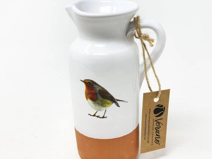 Verano Ceramics Rustic Robin Bottle Jug