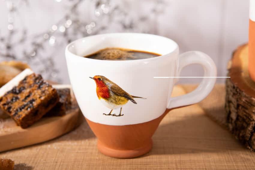Verano Ceramics Rustic Robin Breakfast Cup Lifestyle 11