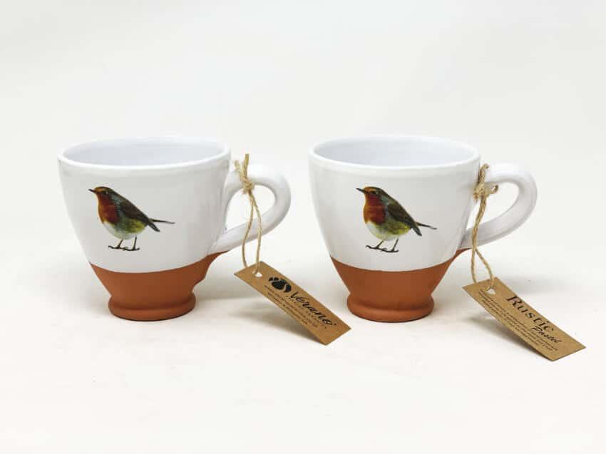 Verano Ceramics Rustic Robin Round Based Cups 1