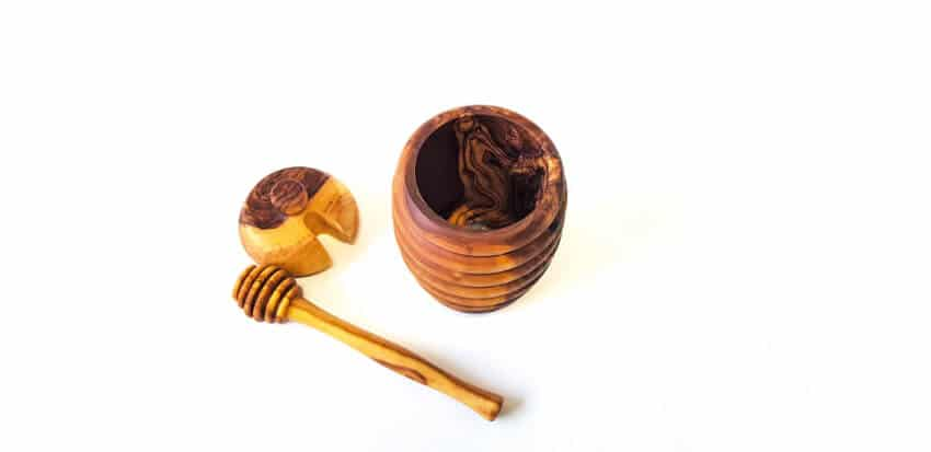 Verano Olive Wood Honey Box With Drizzler 3