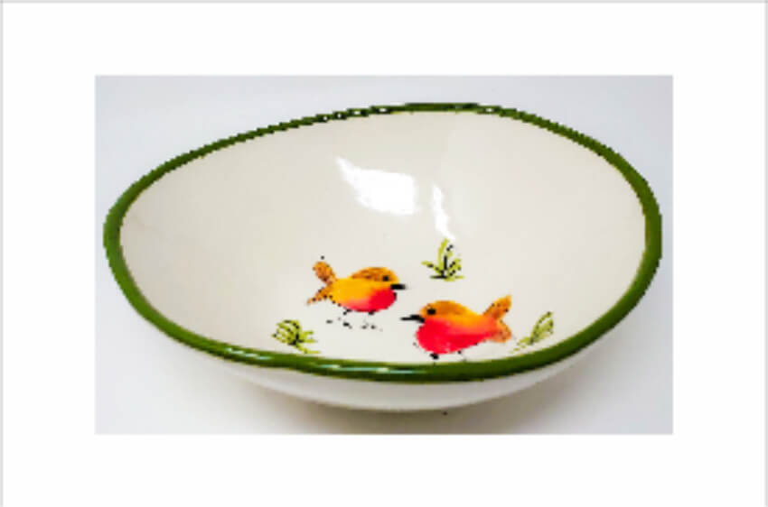 Verano Spanish Ceramics Christmas Robin Ceramic Collection Curvy Bowl Lg Green