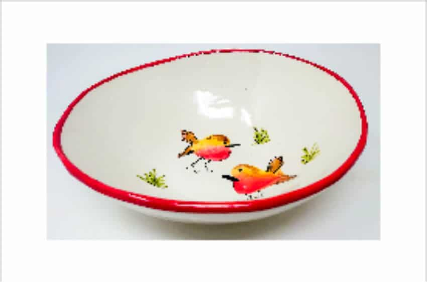 Verano Spanish Ceramics Christmas Robin Ceramic Collection Curvy Bowl Lg Red