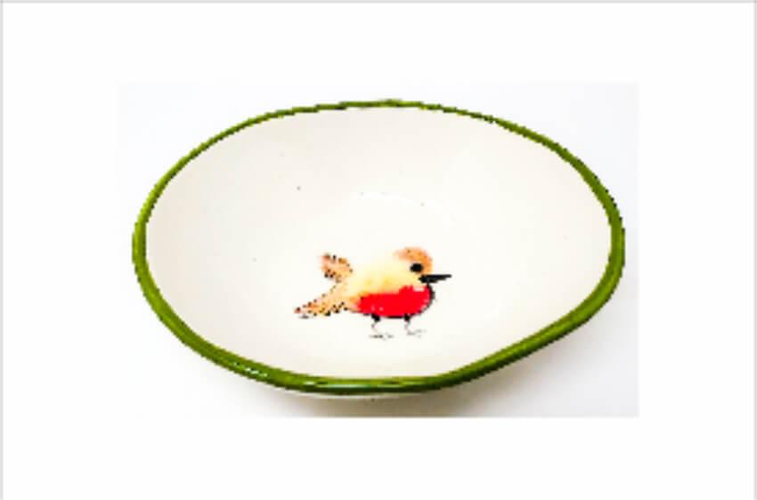 Verano Spanish Ceramics Christmas Robin Ceramic Collection Curvy Bowl Med Green