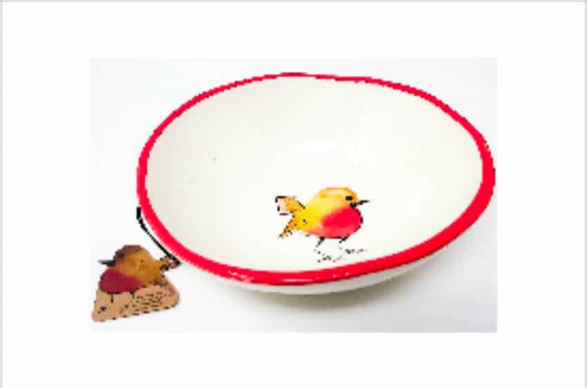 Verano Spanish Ceramics Christmas Robin Ceramic Collection Curvy Bowl Med Red