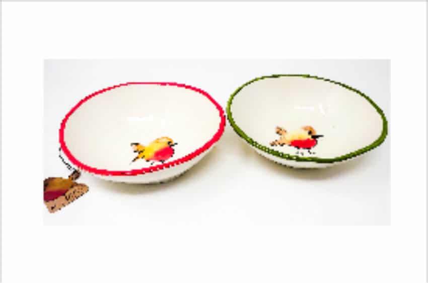 Verano Spanish Ceramics Christmas Robin Ceramic Collection Curvy Bowl Med