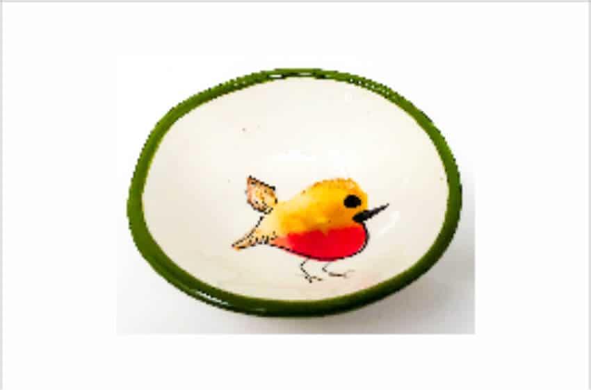 Verano Spanish Ceramics Christmas Robin Ceramic Collection Curvy Bowl Sm Green