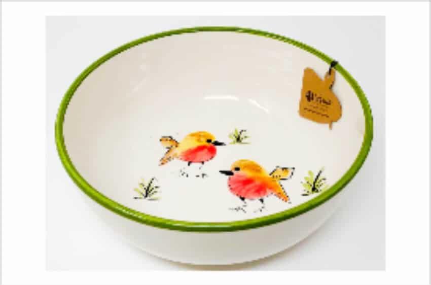 Verano Spanish Ceramics Christmas Robin Ceramic Collection Fruit Bowl Green