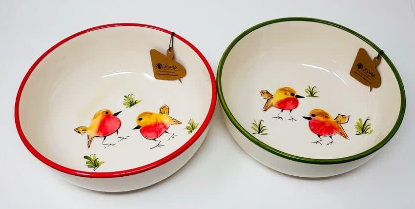 Verano Spanish Ceramics Christmas Robin Ceramic Collection Fruit Bowls