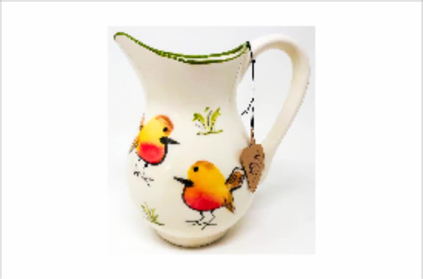 Verano Spanish Ceramics Christmas Robin Ceramic Collection Lg Jug Green
