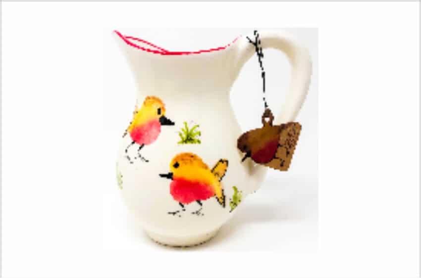 Verano Spanish Ceramics Christmas Robin Ceramic Collection Lg Jug Red