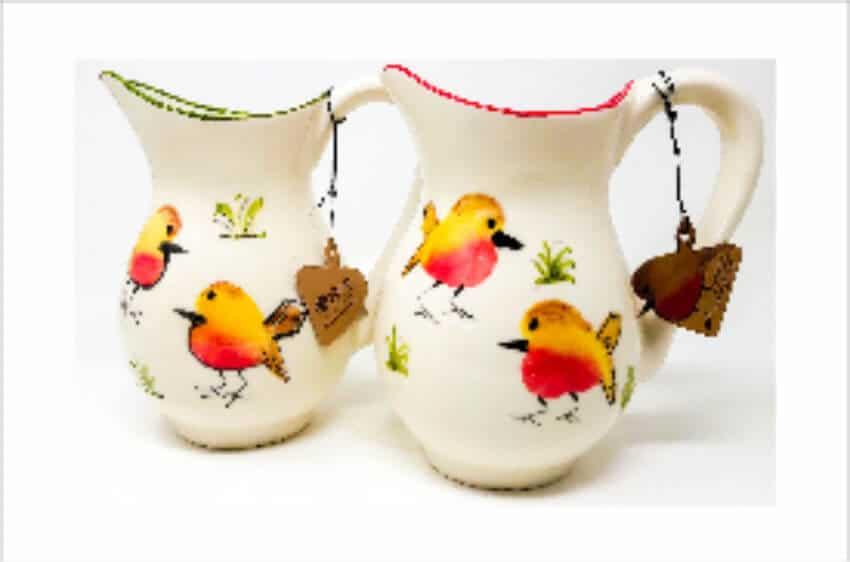 Verano Spanish Ceramics Christmas Robin Ceramic Collection Lg Jugs