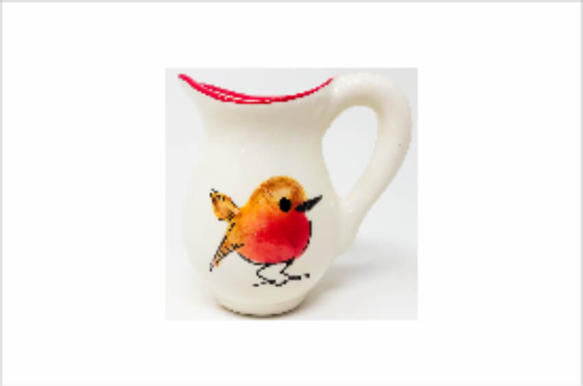 Verano Spanish Ceramics Christmas Robin Ceramic Collection Mini Jug Red