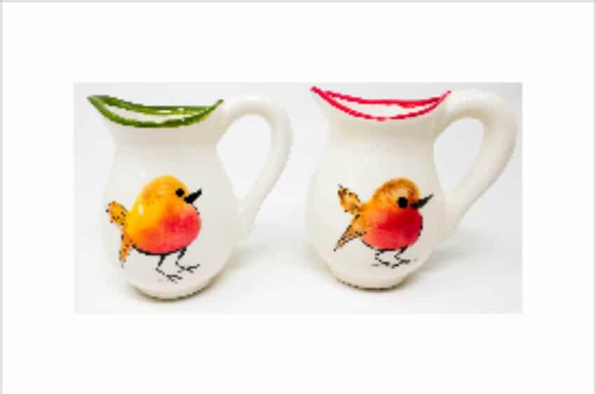 Verano Spanish Ceramics Christmas Robin Ceramic Collection Mini Jugs