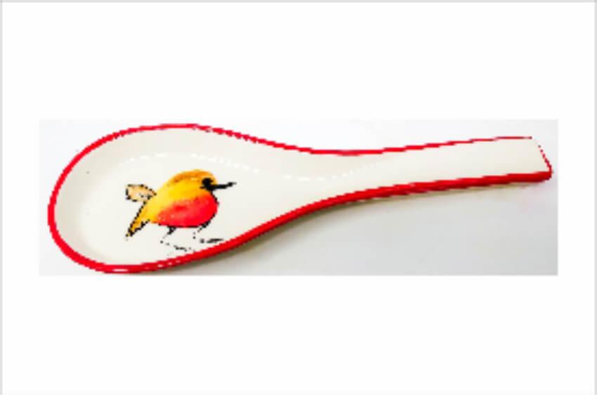 Verano Spanish Ceramics Christmas Robin Ceramic Collection Spoon Rest Red