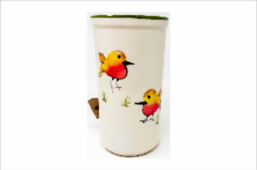Verano Spanish Ceramics Christmas Robin Ceramic Collection Wine Cooler Green