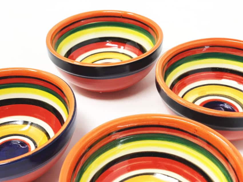 Verano Spanish Ceramics Rayas Shallow Set Of 4 Tapas Bowls 9cm 1