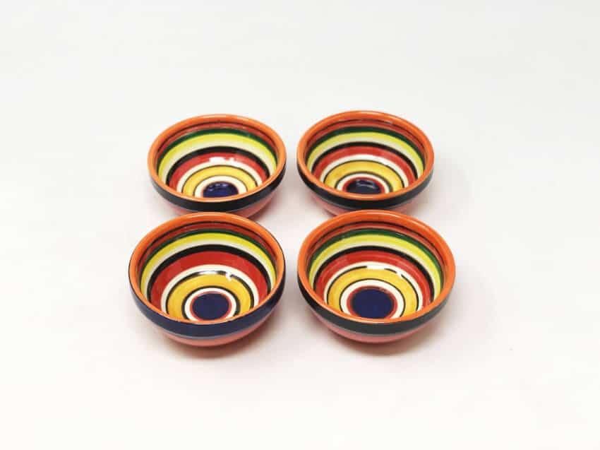 Verano Spanish Ceramics Rayas Shallow Set Of 4 Tapas Bowls 9cm 3