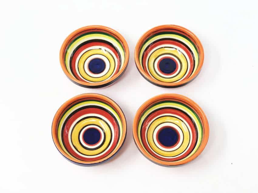 Verano Spanish Ceramics Rayas Shallow Set Of 4 Tapas Bowls 9cm 4