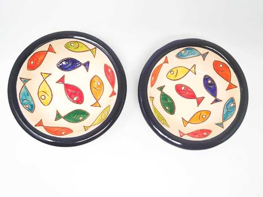 Verano Spanish Ceramics Signature Coloured Fish 12cm Tapas Bowls 6